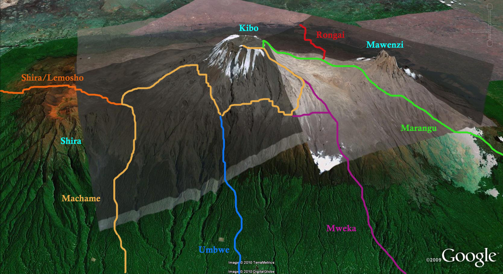 Kilimanjaro 3D routes